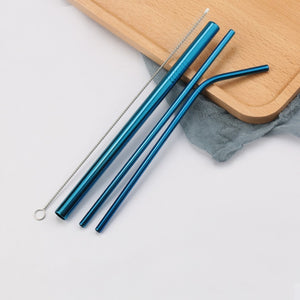 Stainless Steel Reusable Straws Multipacks w/ Straw Cleaner
