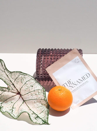 The Unnamed Skincare Brightening Face Sheet Mask with Orange, Leaf & Vase