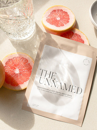 The Unnamed Skincare Brightening Face Sheet Mask with Crystal Glass & Grapefruit