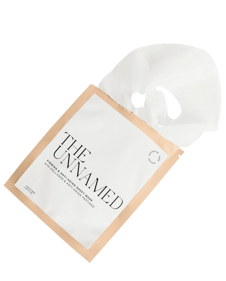 The Unnamed Skincare Firming Face Sheet Mask Open with mask coming out
