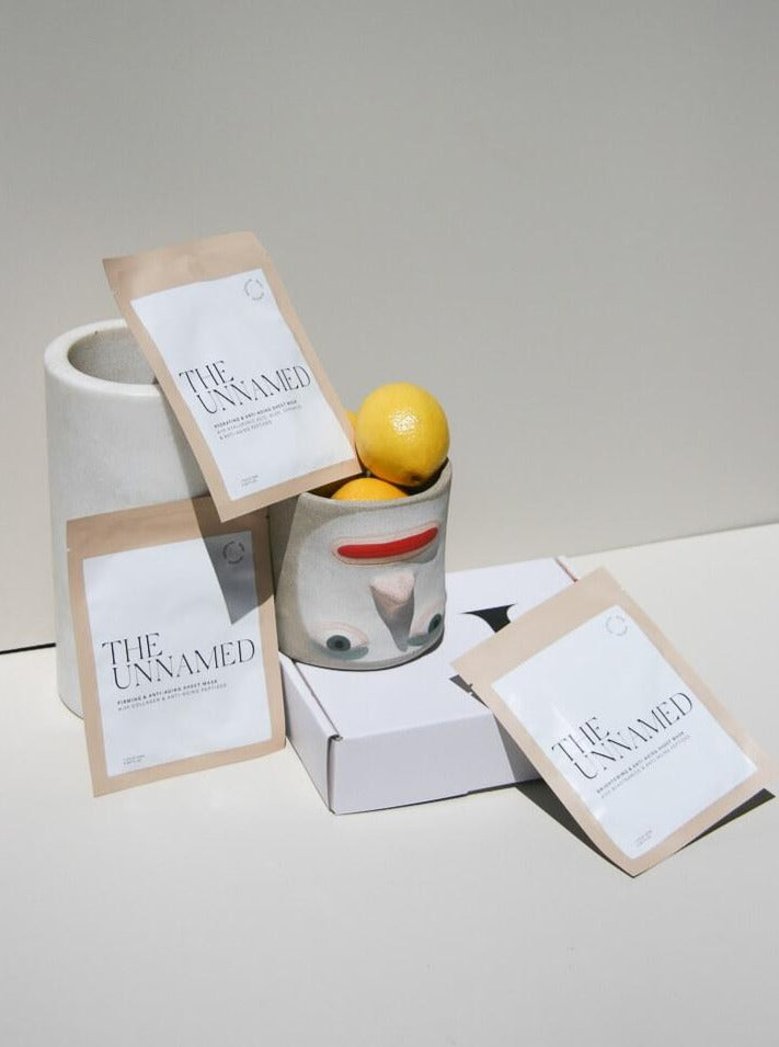 The Unnamed Skincare Face Sheet Masks with Pottery & Lemons