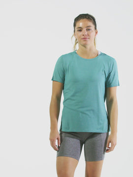 Nathan Sports Women's Dash Short Sleeve Shirt – Green Blue Slate - Product Video