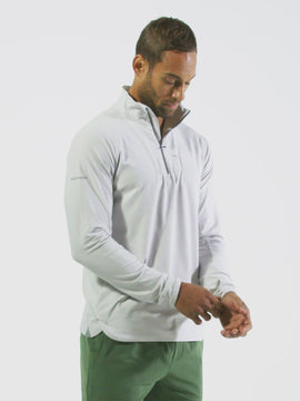 Nathan Sports Men's Tempo Quarter Zip Long Sleeve Shirt – Windchime Grey - Product Video