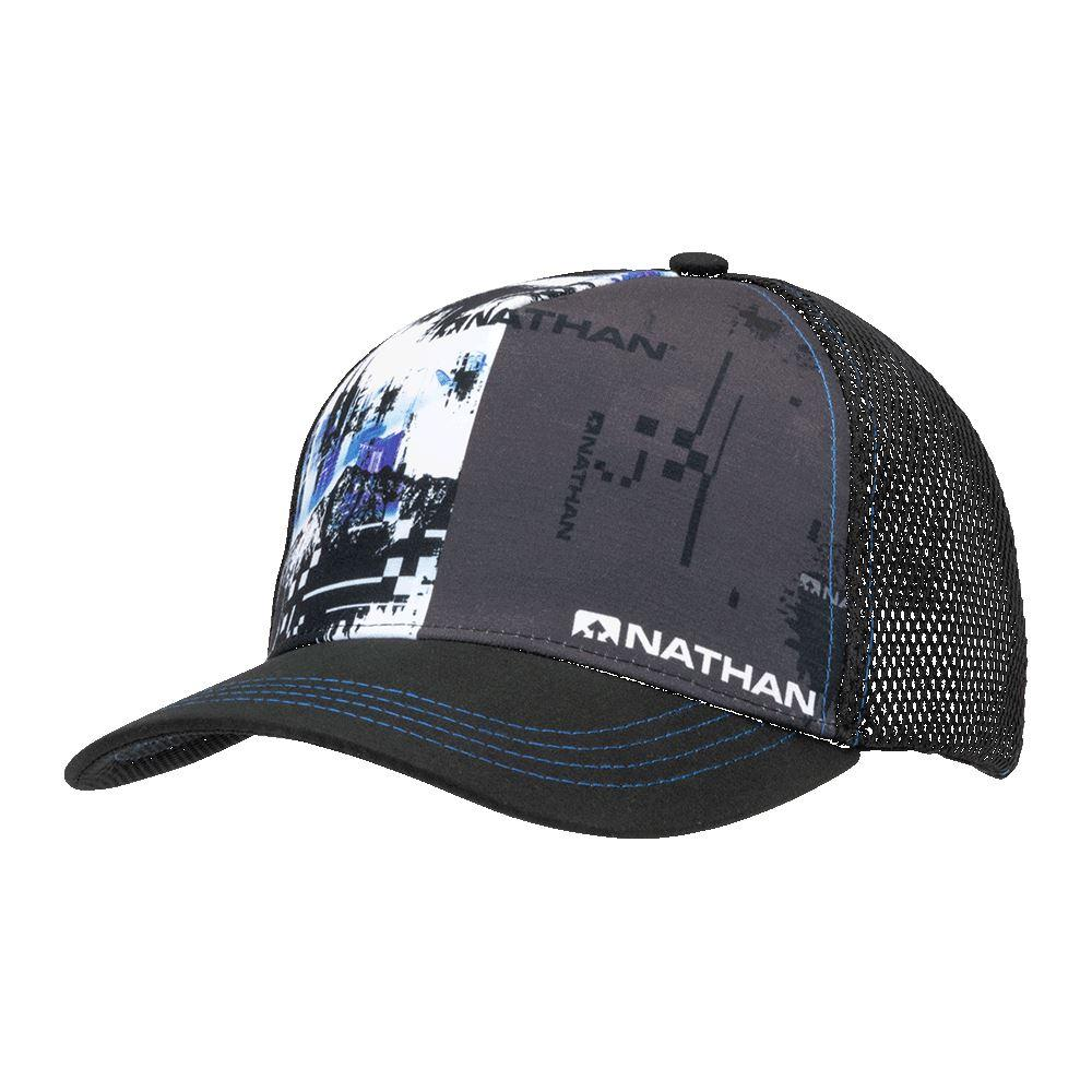 Nathan Runnable Black Glitch Trucker Hat - Left Angle Shot