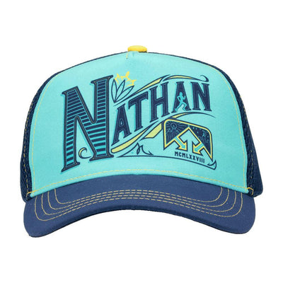 Nathan Runnable Sailor Blue Brew Trucker Hat - Front Facing Shot with Hat Brim