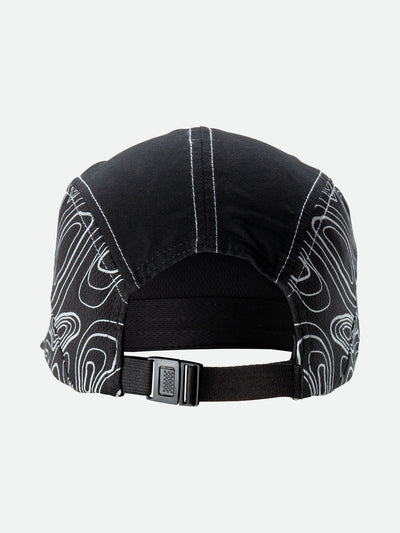 Black Reflective Quick Stash Run Hat - Back Angle View with Topography Graphics