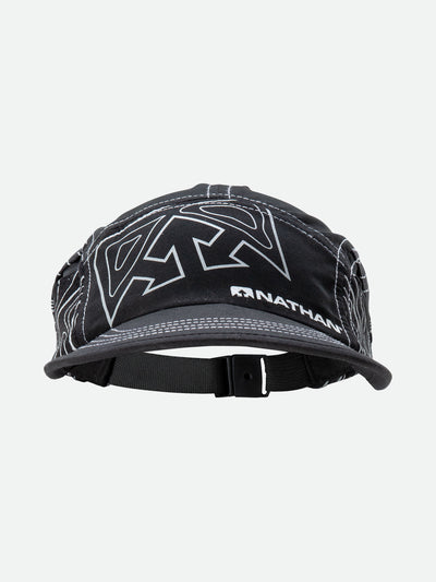 Black Reflective Quick Stash Run Hat - Front Facing View with Topography Graphics