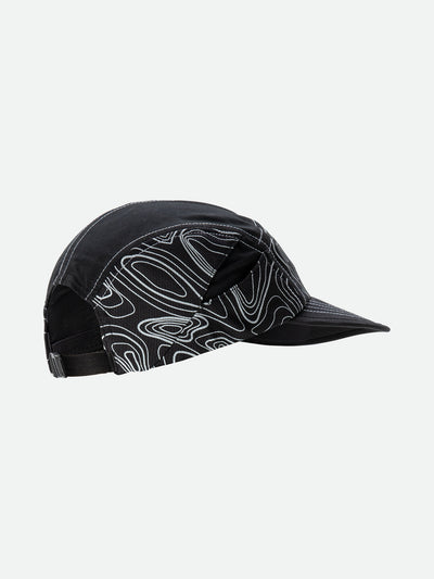 Black Reflective Quick Stash Run Hat - Side Angle View with Topography Graphics