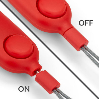 Red SaferRun Ripcord Siren Personal Alarm + Strobe Light - Pull Ripcord to Turn On Alarm - Push to Turn Off