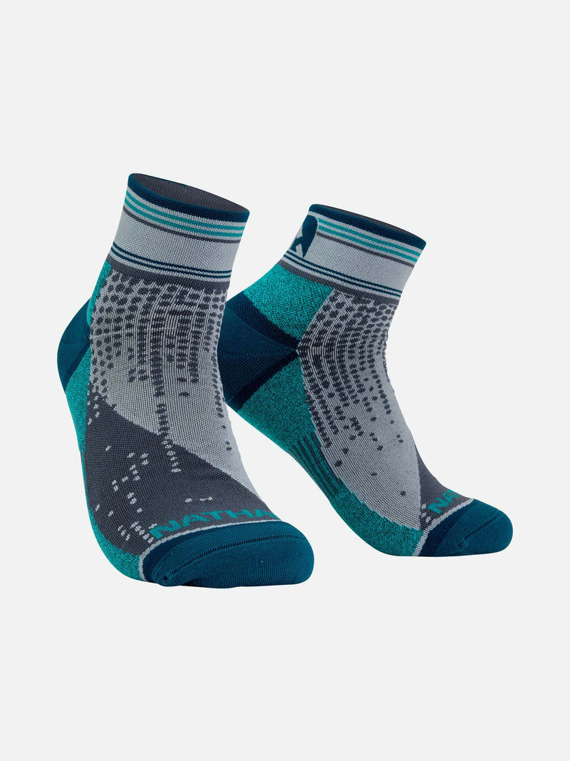 Grey and Teal Matrix Quarter Running Socks
