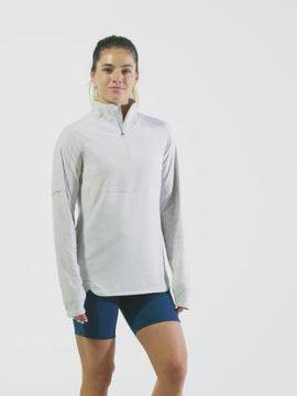 Nathan Sports Women's Tempo Quarter Zip Long Sleeve Shirt – Windchime Grey - Product Video