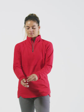 Nathan Sports Women's Tempo Quarter Zip Long Sleeve Shirt – Red Lollipop - Product Video