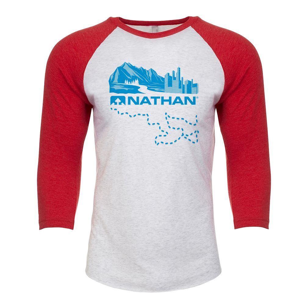 Nathan We Run With You 3/4 Sleeve Tee Gear Nathan Vintage Red XS