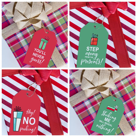 No Peeking Holiday Gift Tag Set - Splendid Greetings - Funny Greeting Cards