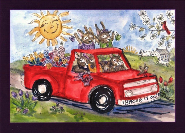 """Bunnies in Spring Truck Spring it On"" 5x7"