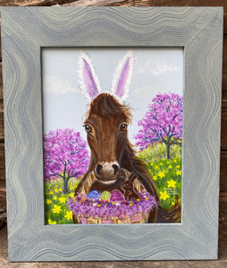 Horsey Bunny, Easter Print, Spring Print, Horse Painting for Easter, Spring Decor, Acrylic Painting