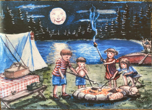 """Toasting Marshmallows"" 5x7"