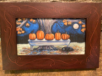 """Pumpkins on Bench"" 5x9"