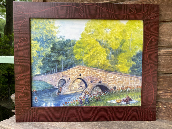 "Fishing At The Humpback Bridge, New Oxford, PA   11""x14"""