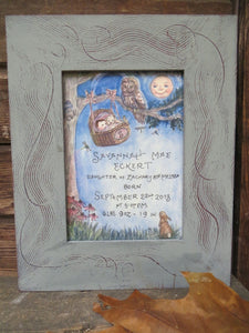 Baby in Basket  with Owl in Tree Birth Certificate  5x7