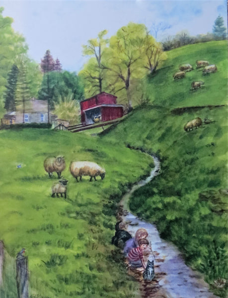 """Playing in the Sheep Pasture"" 9x12"