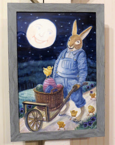 Bunny With A Wheelbarrow Full of Fun