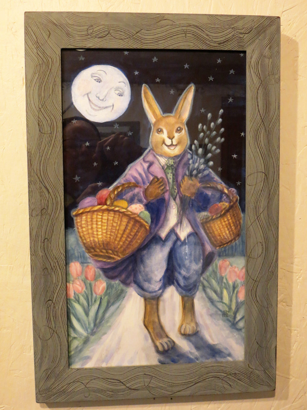 Easter Bunny with Easter Baskets & Pussy Willow