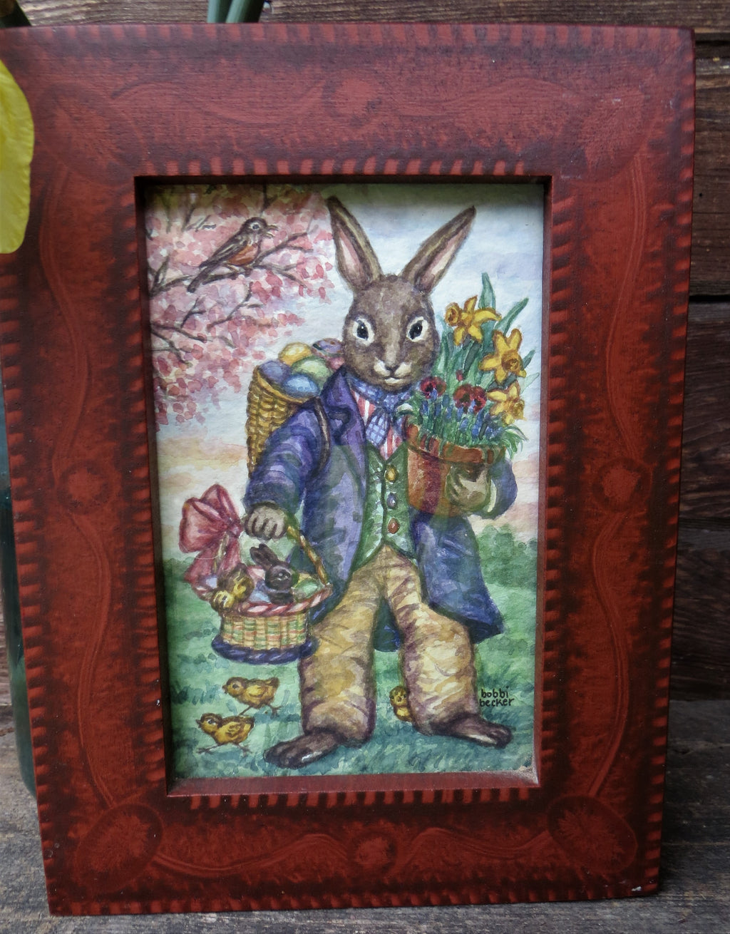 Easter Bunny in Purple Coat with Spring Flowers & Easter Basket
