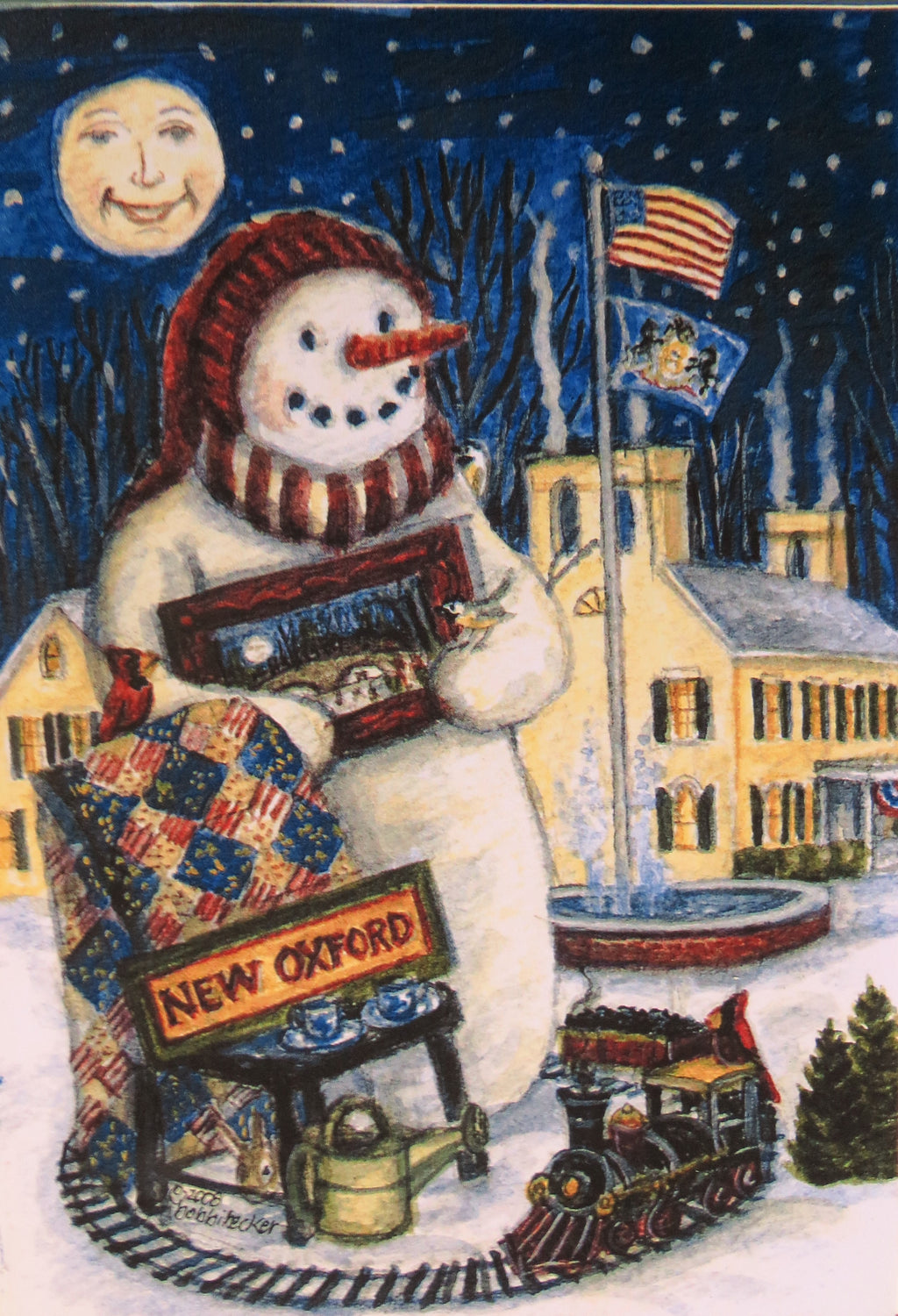 Snowman Print Winter Snow Watercolor Print, New Oxford Pennsylvania Frosty the Snowman Watercolor