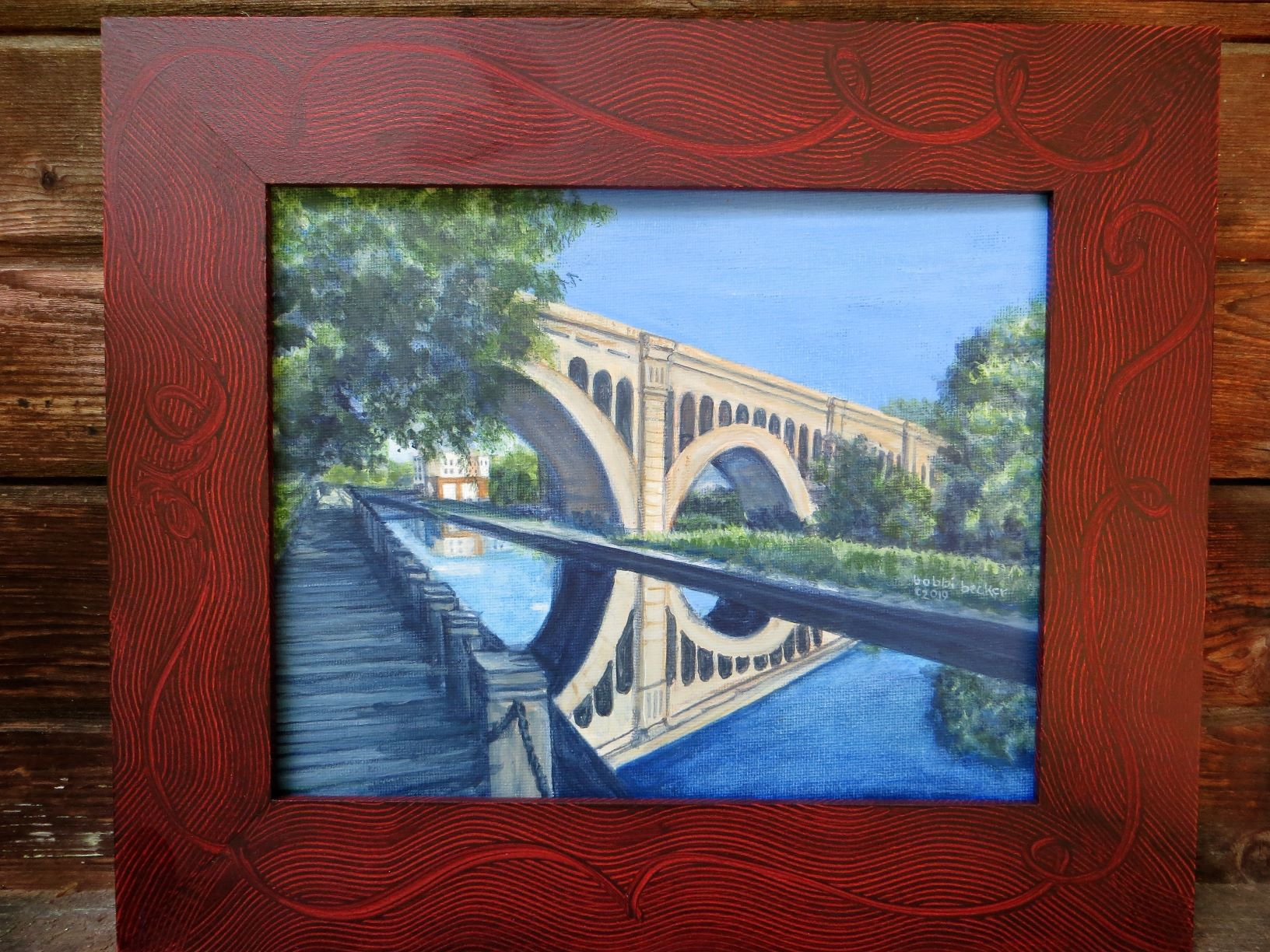 Manayunk Bridge Red Grain Swirl
