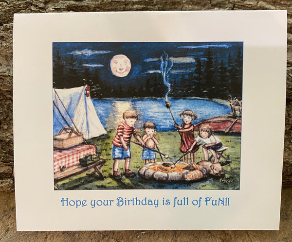 Toasting Marshmallows  - Birthday Card