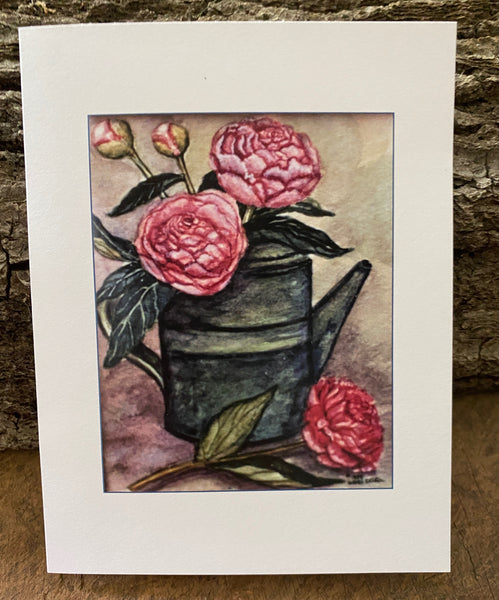 Pink Peonies in vintage Watering Can - Card