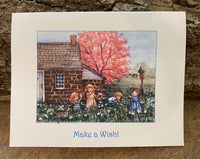 Make A Wish Children Playing in Dandelions - Card