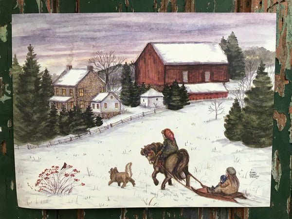 """Pony Pulling the Sled"" 9x12"