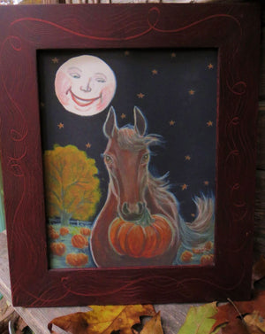 Pumpkin Horse Red Grained Swirl Frame Print