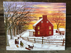 Winter Sunset - Watercolor Painting Wall Art Print Farmhouse Print Living Room Decor Kids with Sleds