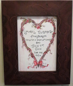 Heart Wreath with Roses Birth Certificate