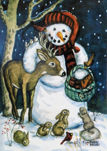 Snowman Decor Woodland Print, Winter Deer and Snowman Painting Watercolor Print Holiday Season Snow