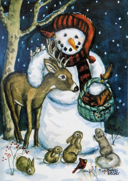 """Frosty With Friends And Basket of Goodies for Them"" 5x7"
