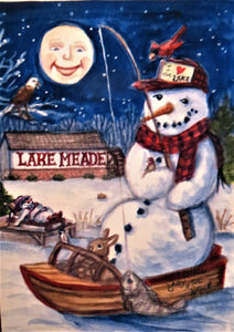 Frosty the Snowman Art Lake Meade Pennsylvania Print, Snowman Painting Holiday Decoration Snowman