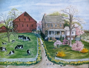 Springtime on the Farm, bobbi becker, print, handmade, Spring, Stone farmhouse, Pennsylvania , farm
