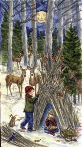 Winter Scene Watercolor Print, Wall Art of Children Playing in the Woods Building a Fort, Rustic