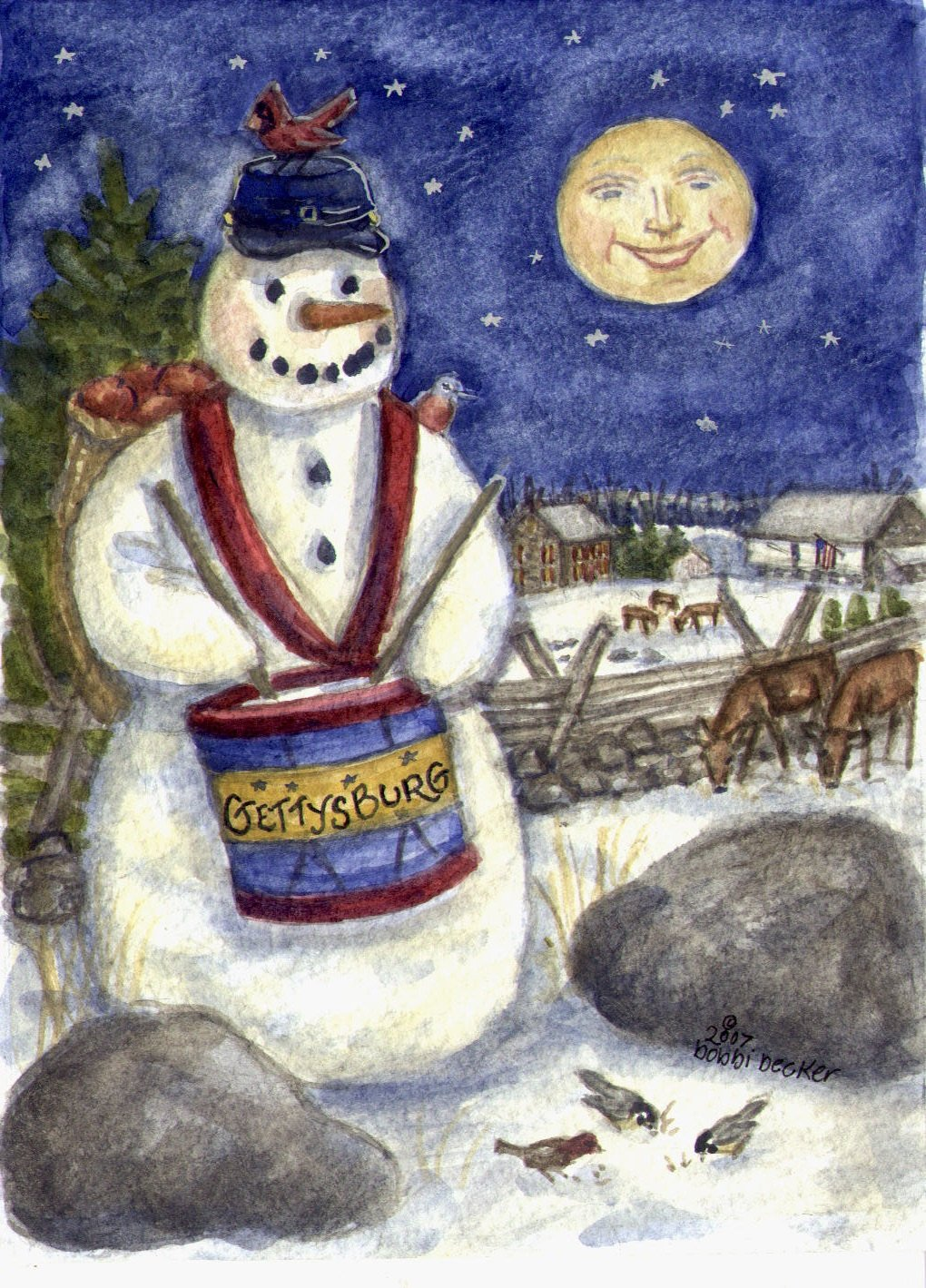 Watercolor Painting Snowman Decor, Gettysburg PA Snowman Art and Holiday Decor, Gettysburg