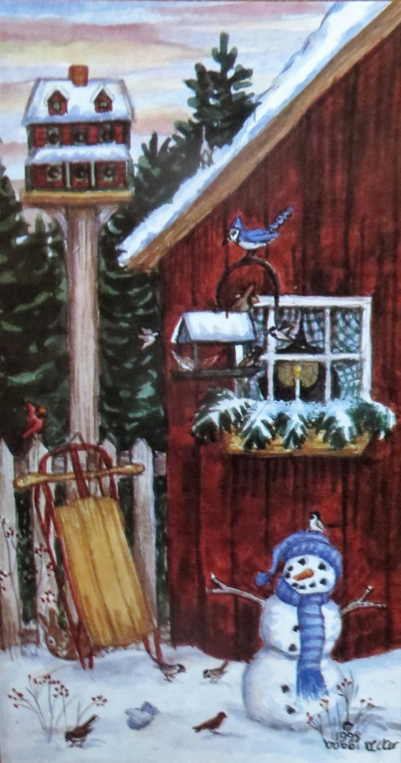 Snowy Shed - Snowman Painting Rustic Artwork, Snow Scene Birds, Winter Print, Watercolor Holiday Gift