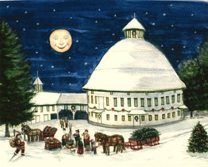 Country Art Watercolor Print, The Round Barn at Christmas Time Farmhouse Print, Winter Scene