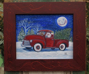 Santa in a Truck Acrylic Painting Holiday Print, Pick Up Truck Santa Painting Christmas Decor