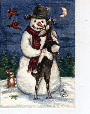 Frosty the Snowman Wall art, Goat, Winter print, Cardinals, Snowman Winter Art