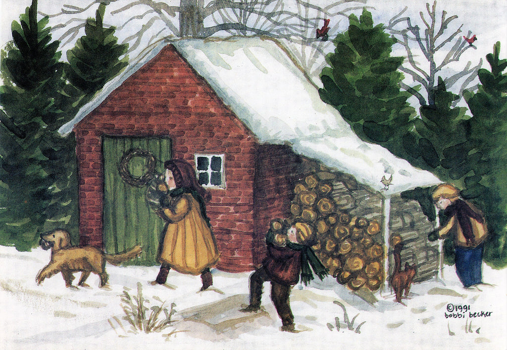 Bringing in Firewood, Kids, Winter wall art, bobbi becker