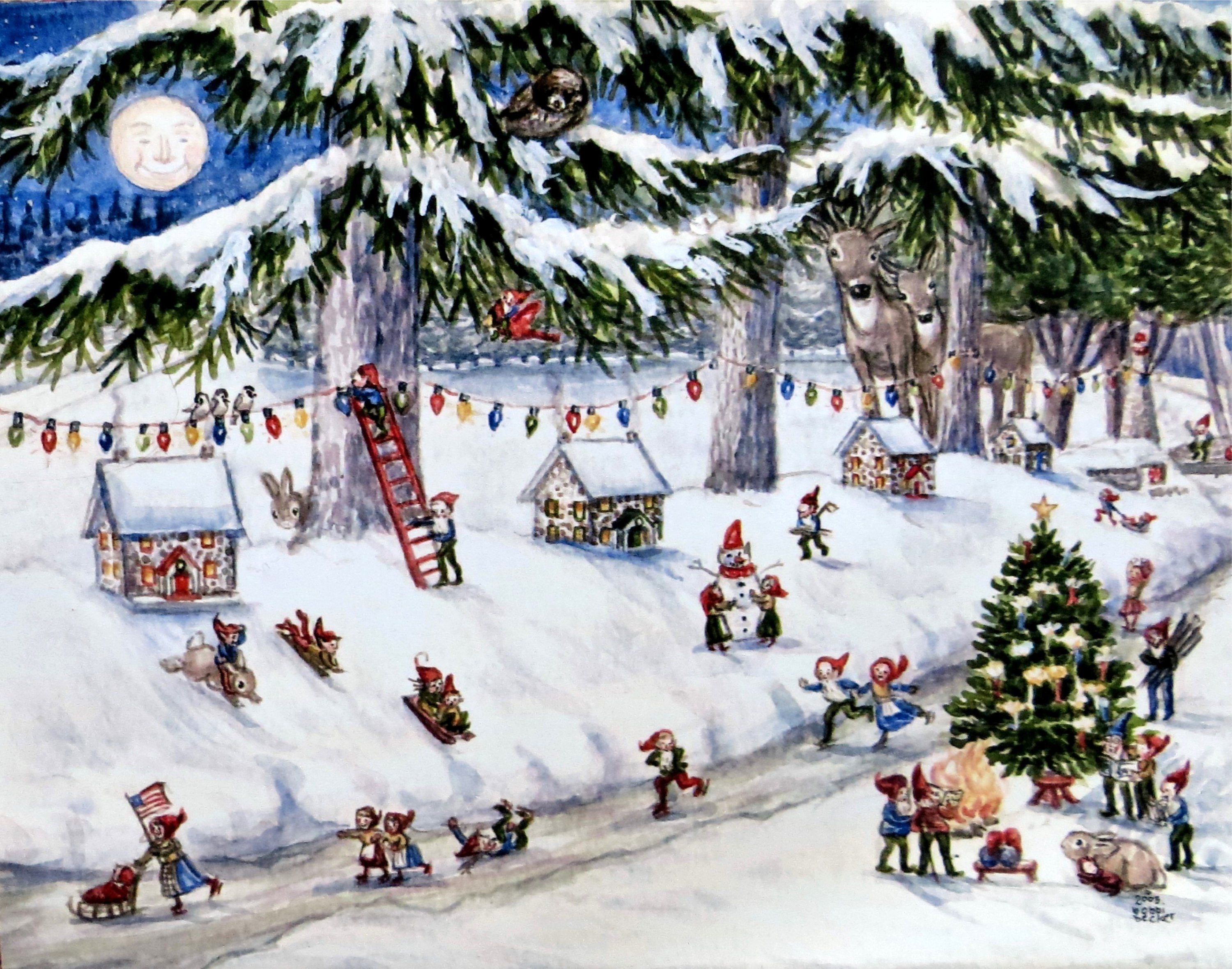 Little Houses in Abbottstown, PA , Hildyville, Hanover, Elves, gnomes, Winter art, Deer, Moon