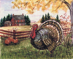 Turkey Print Thanksgiving Decor, Watercolor Painting Autumn Print and Fall Decor, Holiday Print